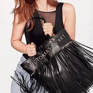 Victoria's Secret black fringe tote bag